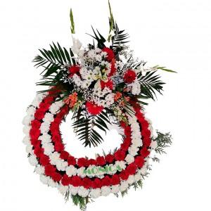Corona en blanco y rojo(Floristerias Monica)