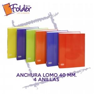 ARCHIVADOR ELBA, LOMO 40, 4 ANILLAS