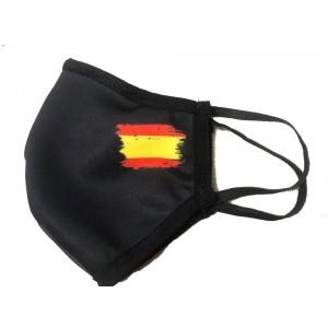 Mascarilla negra bandera de España
