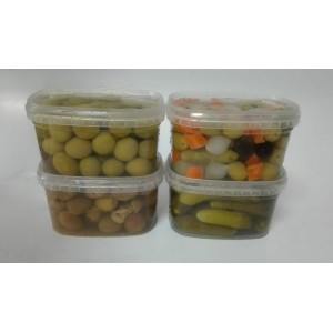 Aceitunas y encurtidos en formato 500 gramos neto