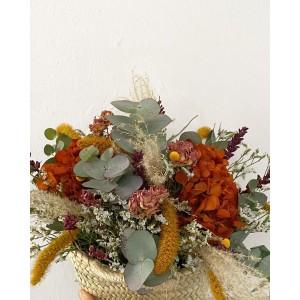 Capazo de flores secas y preservadas ORANGE